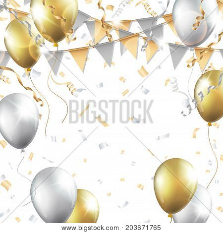 Gold and silver balloons, confetti, streamers and party flag on white background. Vector illustration.