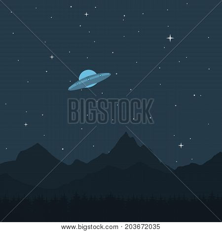 UFO. A spaceship in the background of a mountain landscape a dark starry sky. Vector illustration.