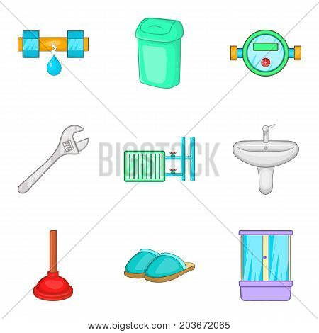Bathroom repair service icon set. Cartoon set of 9 bathroom repair service vector icons for web design isolated on white background