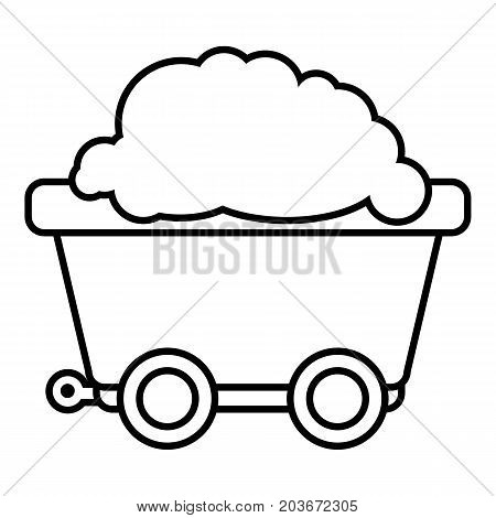 Mining cart icon. Outline illustration of mining cart vector icon for web design isolated on white background