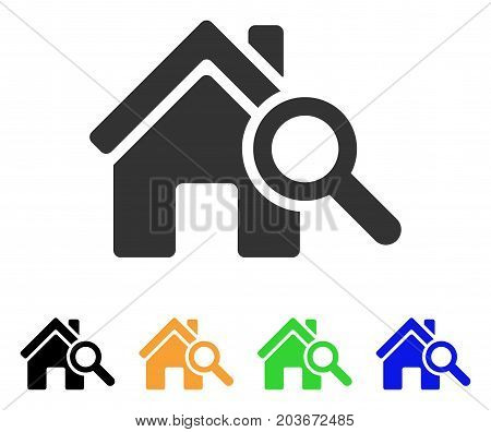 Explore House icon. Vector illustration style is a flat iconic explore house symbol with black, gray, green, blue, yellow color variants. Designed for web and software interfaces.