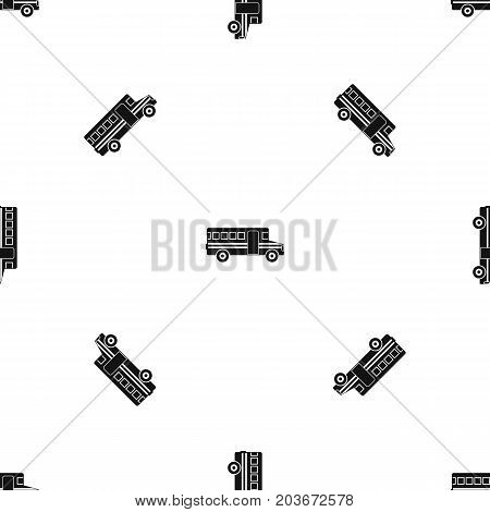 School bus pattern repeat seamless in black color for any design. Vector geometric illustration