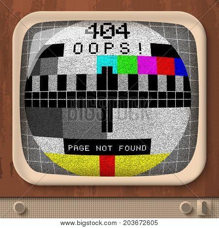 Tv retro signal error template in sphere shape in vintage style vector illustration