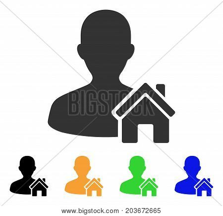 Home User icon. Vector illustration style is a flat iconic home user symbol with black, gray, green, blue, yellow color versions. Designed for web and software interfaces.