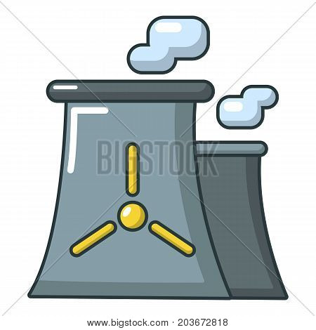 Modern nuclear power plant icon. Cartoon illustration of nuclear power plant vector icon for web design