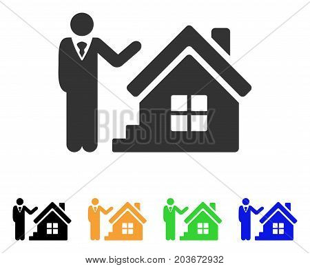 Realty Agent icon. Vector illustration style is a flat iconic realty agent symbol with black, grey, green, blue, yellow color variants. Designed for web and software interfaces.