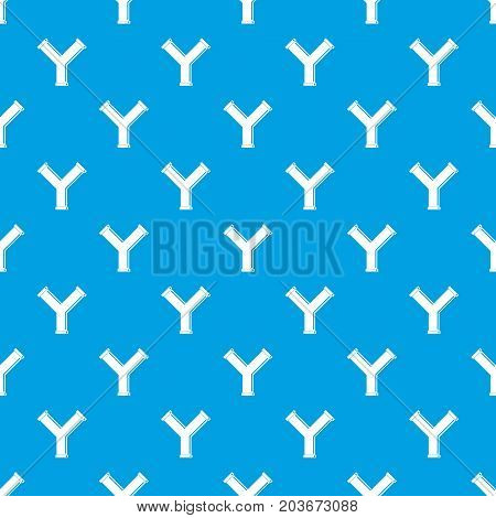 Joint pipe in form Y letter pattern repeat seamless in blue color for any design. Vector geometric illustration