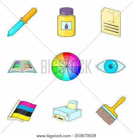 Color ratio icons set. Cartoon set of 9 color ratio vector icons for web isolated on white background