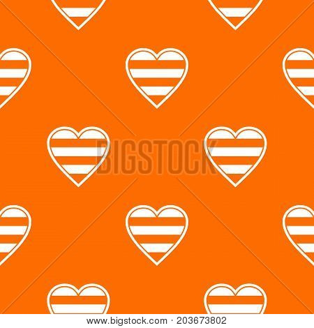 Heart LGBT pattern repeat seamless in orange color for any design. Vector geometric illustration