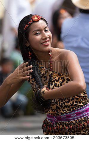 June 17 2017 Pujili Ecuador: indigenous female dancer at the Corpus Christi annual parade