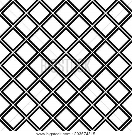 Abstract geometrical black and white seamless square pattern background - halftone vector graphic from diagonal squares