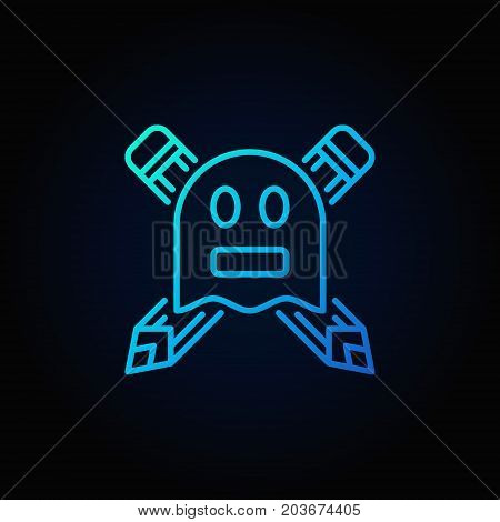 Ghostwriter blue concept icon or symbol in thin line style on dark background