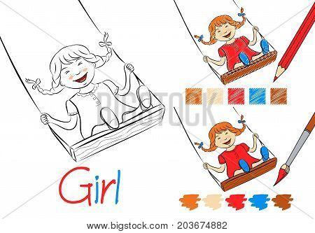 Happy girl on a swing black and white vector illustration for children and adults. Coloring page for the book. Examples of coloring with a pencil and paints. Hand-drawn style. Closed contours.