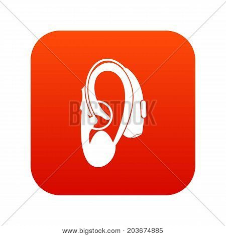 Hearing aid icon digital red for any design isolated on white vector illustration