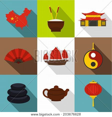Country of China icon set. Flat style set of 9 country of China vector icons for web design