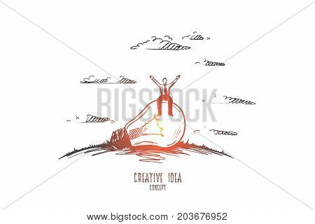 Creative idea concept. Hand drawn man sitting on light bulb. Light bulb as symbol of creative idea isolated vector illustration.