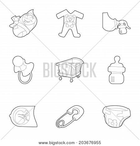 Birth icons set. Outline set of 9 birth vector icons for web isolated on white background