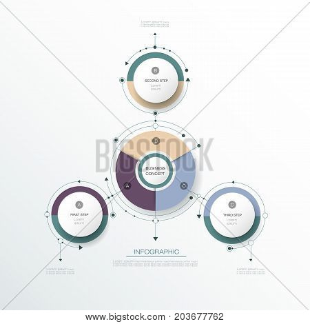 Vector Infographic 3D circle label design with arrows sign and 3 options or steps. Can be used for business, infograph template, process, infographics, diagram chart, flowchart, processes diagram, time line