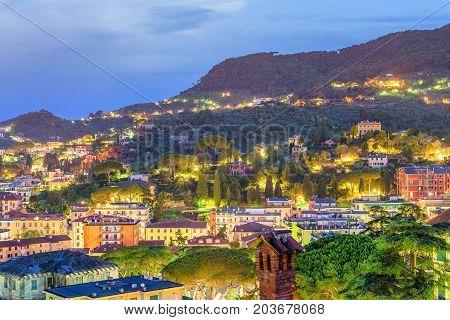 Beautiful night view to Santa Margherita Ligure city and sea in Italy