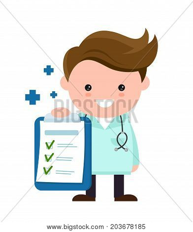 Toung cute happy smiling medical doctor with clipboard,checklist. Vector modern flat style cartoon character illustration. Isolated on white background. medical checkup
