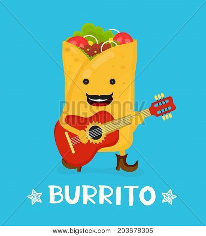 Tasty cute happy smiling burrito dance acoustic guitar. Vector modern flat style cartoon character illustration. Isolated on blue background.  mexican food, cafe, restaurant menu. Love burrito card