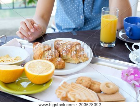 Healthy Continental Breakfast Served On A Tray