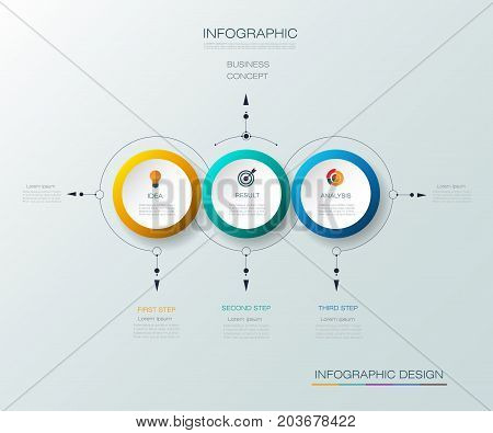 Vector Infographic 3D circle label design with arrows sign and 3 options or steps. Can be used for business, infograph, template, process infographics, diagram chart, flowchart, processes diagram, time line