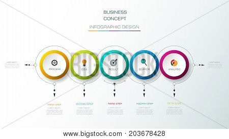 Vector Infographic 3D circle label design with arrows sign and 5 options or steps. Can be used for business, infograph, template, process, infographics, diagram chart, flowchart, processes diagram, time line
