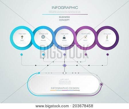 Vector Infographic label design with icons and 5 options or steps. Infographics for business concept. Can be used for presentations, banner, workflow, layout, process diagram, flow chart, info graph