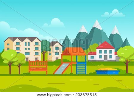 Housing estate with playground by the mountains - modern vector illustration. Peaceful landscape with hills, trees, small cute low storey suburban houses, blue sky, slide, bench, sandbox for children
