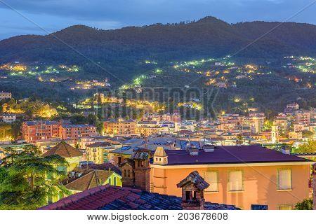 Beautiful night view to Santa Margherita Ligure city in Italy