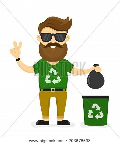 Young smiling happy beard hipster eco friendly man. Ecology man sorting a trash. Vector modern flat style cartoon character illustration. Isolated on white background