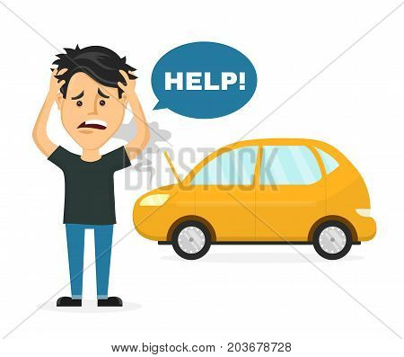 Frustrated sad young man near a broken car hold hands behind his head. Vector flat style cartoon character illustration. Isolated on white background. Auto accident, breaking, need car service concept