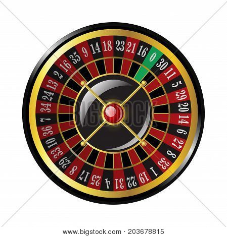 Casino roulette - modern vector isolated clip art illustration on white background. Gambling, luck, fortune concept. Use this high quality clip art for presentations, banners, flyers