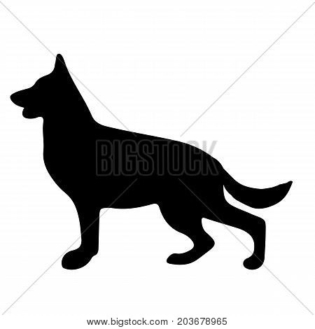 Silhouette of a dog.Vector illustration of german shepherd. Bloodhound