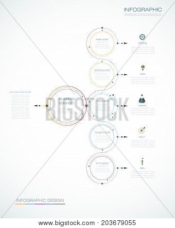 Infographic template circle design with arrows sign and 5 options or steps. Can be used for business, infograph template, process, infographics, diagram chart, flowchart processes, diagram, time line