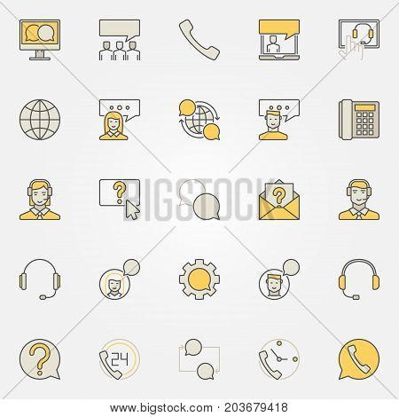 Support service colorful icons - vector online help and customer support creative symbols or design elements