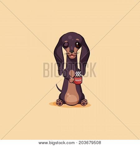 Vector stock illustration emoji of cartoon character dog talisman, phylactery hound, mascot pooch, bowwow dachshund sticker emoticon German badger-dog woke up with cup of coffee emotion design element