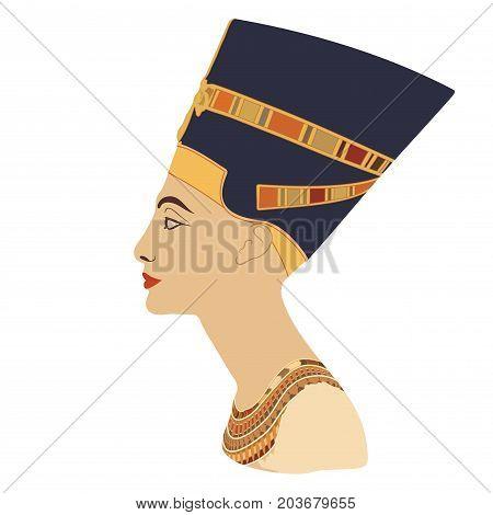 Vector portrait of Queen Nefertiti. Profile isolated on white background.