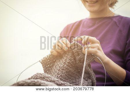 Young Woman Knitting
