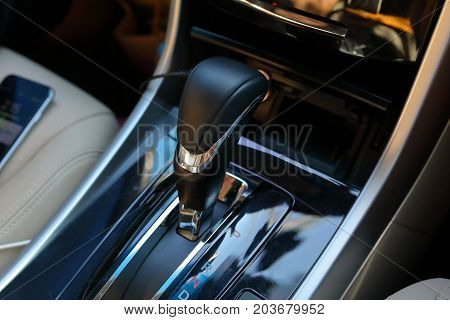 Automatic Gear Parked Inside Modern Luxury Vehicle Car Automobile