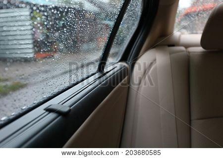 Rain Drop On Window Vehicle Car