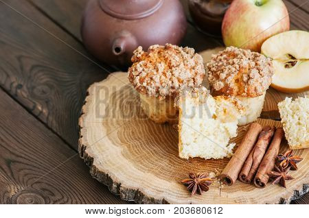 Apple Cinnamon Streusel Muffins On A Wooden Board. Wooden Background.