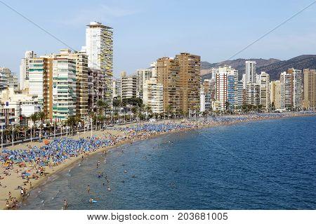 BENIDORM SPAIN - SEPTEMBER 22 2016: Beautiful Levante beach located in Benidorm Spain