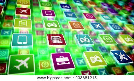 Mobile Application Icons Shot Aslant