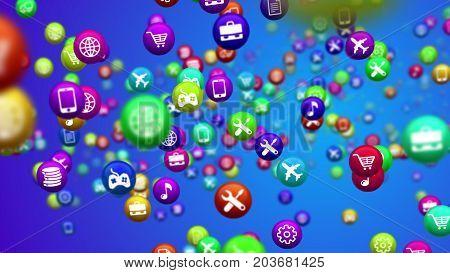 Spinning Social Media Colorful News Balls
