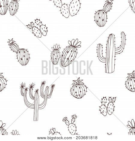 Natural seamless pattern with monochrome hand drawn cactus on white background. Blooming Mexican desert plants. Botanical vector illustration