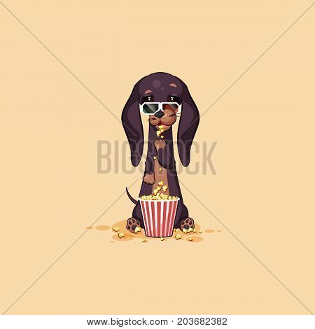 Vector stock illustration emoji cartoon character dog talisman, phylactery hound, mascot pooch, bowwow dachshund sticker emoticon German badger-dog chewing popcorn, watch movie in 3D glasses emotion