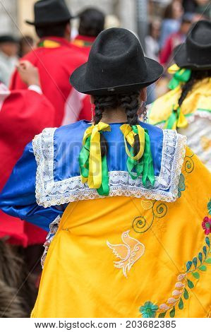 June 17 2017 Pujili Ecuador: female indigenous clothing details at the Corpus Christi annual street parade in the Andean town