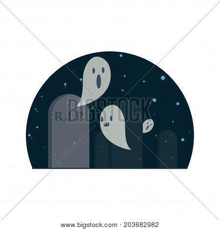 Evil ghosts in the cemetery. Flat vector for Halloween